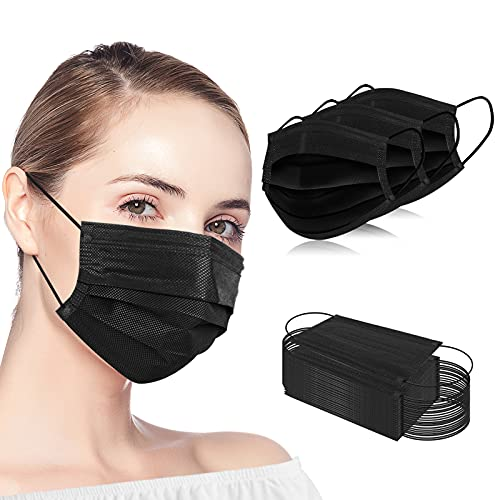 100PCS Black Disposable Face Masks 3 Ply Filter Protection Safety Mask Cover for Adult Women and Men