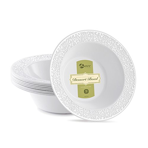 LACE PLASTIC PARTY DISPOSABLE BOWLS   6 Ounce Hard Round Wedding Plastic Bowls   White with Silver Rim, 40 Pack   Elegant & Fancy Party Supplies Dessert Plates for all Holidays & Occas