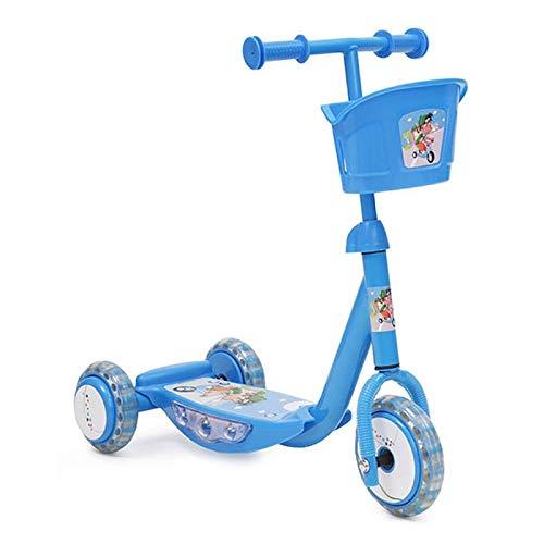 Kinderroller L007C Jungen blau, 3 Silikon-Reifen, mit Musik, Licht, Korb
