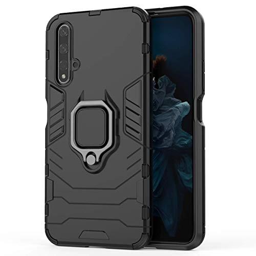 XIFAN Hülle für Huawei Nova 5T / Honor 20s [Strapazierfähig] Ring Ständer, [Funktioniert Mit Magnetischer Autohalterung] Hülle Schutzhülle, Schwarz