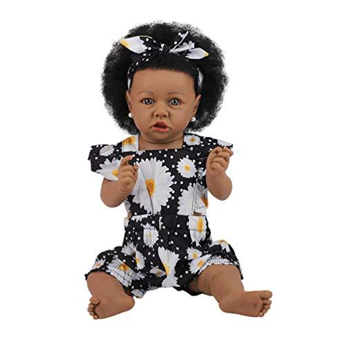 H.aetn 23 Pulgadas 58 cm muñecas Negras africanas de Cuerpo Completo de Silicona Reborn muñeca Hecha a Mano Realista muñecas recién Nacidas para niñas cumpleaños (Ojos Marrones, 16)