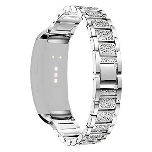 Für Samsung Gear Fit 2/ Fit 2 Pro Armband,JSxhisxnuid Damen Edelstahl Metall Strass Uhrenarmband Schmuck Armband Armreif für Samsung Gear Fit 2/ Fit 2 Pro (Silber)