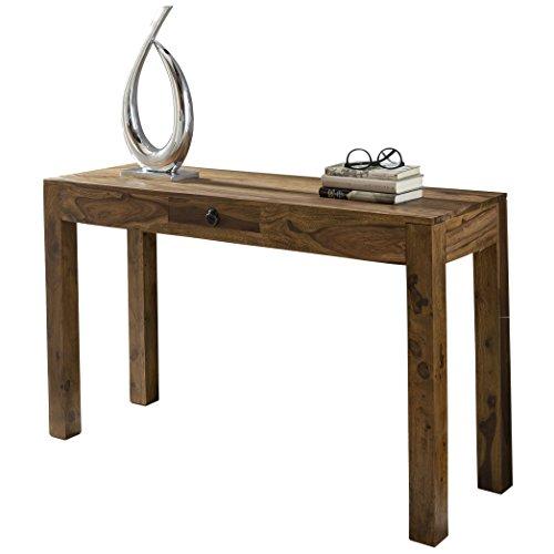 WOHNLING Konsolentisch Massivholz Sheesham Konsole mit 1 Schublade Schreibtisch 120 x 40 cm Landhaus-Stil Sideboard Modern Massiv dunkel-braun Echt-holz Natur Anrichte PC-Tisch Sekretör Tisch Flur