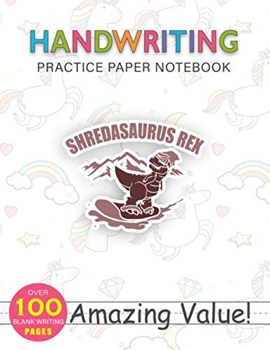 Notebook Handwriting Practice Paper for Kids Snowboarding Dinosaur Swea Funny Snowboard Kid Gift: 8.5x11 inch, Weekly, Hourly, 114 Pages, PocketPlanner, Journal, Daily Journal, Gym