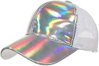 Shiny Holographic Mesh Trucker Hats Rainbow Reflective Glossy Strapack Baseball Cap