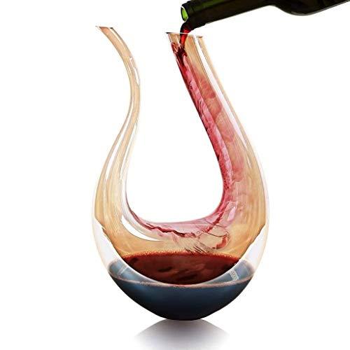 TRPYA Decantador de Vino, 100% Cristal Hecho a Mano sin Plomo, Vidrio Chapado en Oro, Vino, Fondo Ancho, Accesorios para Vino, Regalo