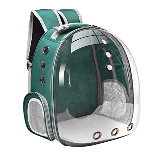 Non-brand Durable Bubble Backpack Pet Carriers,Transparent Pet Breathable Travel Small Dog Cats Carrier with 3 Breathable Mesh Panels - Green