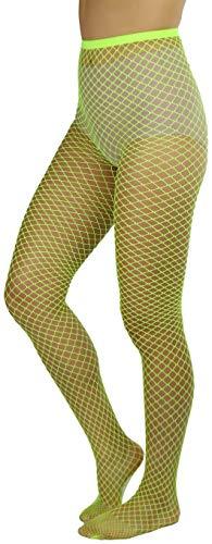 ToBeInStyle Women's Seamless Diamond Net Spandex Nylon Blend Pantyhose - Neon Yellow - One Size Regular