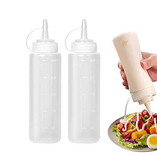 Condiment Squeeze Bottles, Abnaok 2-Pack 8 oz Food Grade Plastic Squeeze Condiment Bottles with Twist On Cap Lids for Sauces, Paint,Oil, Condiments,Salad Dressings, Arts and Crafts