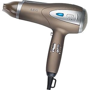 AEG HTD 5584 Profi-Foen mit 2200 Watt, 3 Temperatur-/Leistungsstufen, Kaltstufe für Style Fix, Ionisierungsfunktion, Formdüse (360°), professioneller Volumen-Diffusor, Aufhängöse, in Braun/Metallic