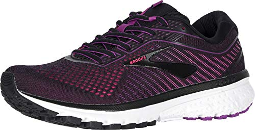 Brooks Womens Ghost 12 Running Shoe - Black/Hollyhock/Pink - B - 7.0