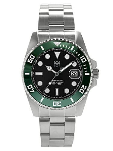 [HYAKUICHI 101] ダイバーズウォッチ 潜水 200m防水 セラミックベゼル カレンダー 腕時計 メタルバンド メンズ (グリーンブラック)