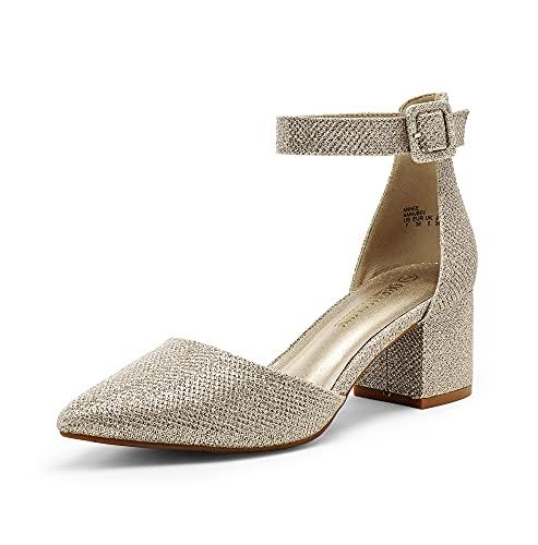 DREAM PAIRS Women's Annee Gold Glitter Low Heel Pump Shoes Size 8 M US