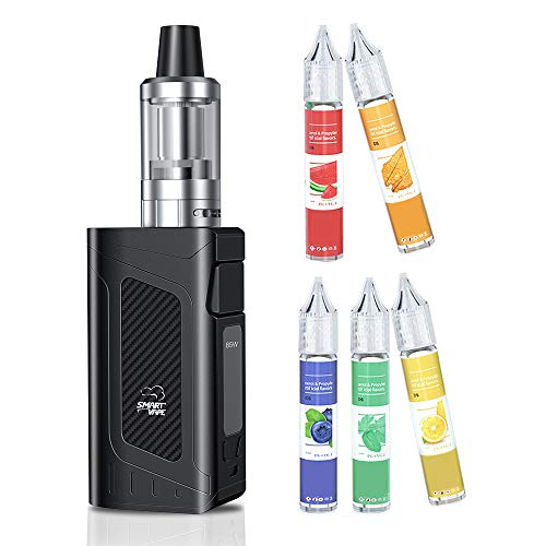 Sigaretta Elettronica Svapo Kit Completo, SmartVape E Sigaretta 80W Mod Kit with 5x10ml E Liquid0, Ricaricabile 2200mAh Batteria, Schermo LED regolabile, senza nicotina