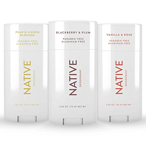Native Deodorant - Natural Deodorant For Women and Men - 3 Pack - Contains Probiotics - Aluminum Free & Paraben Free, Naturally Derived Ingredients - Blackberry & Plum, Pear & Linden Blossom, Rose & Vanilla Scent