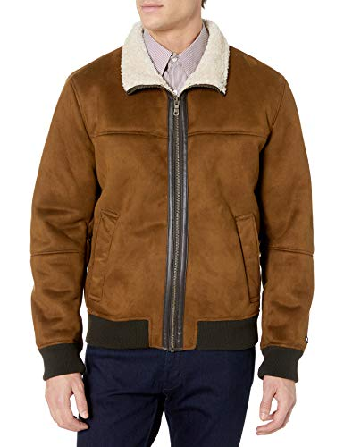 Tommy Hilfiger Men's Classic Faux Shearling Stand Collar Bomber Jacket, Brown, Small