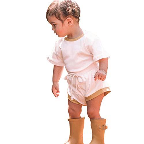 Sameno - Conjunto de 2 camisetas de algodón orgánico para bebés recién nacidos y niñas (0-2 años)