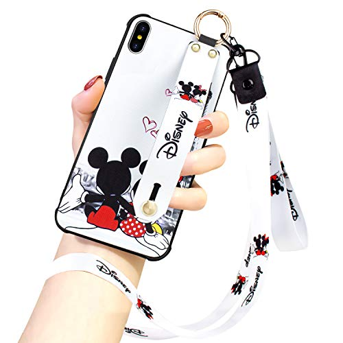 DISNEY COLLECTION iPhone Xs X Case, Disney Mickey Couple Street Fashion Wrist Strap Band Phone Cover Full-Body Bumper Lanyard Case for Apple iPhone Xs Case (2018) / Apple iPhone X Case (2017)
