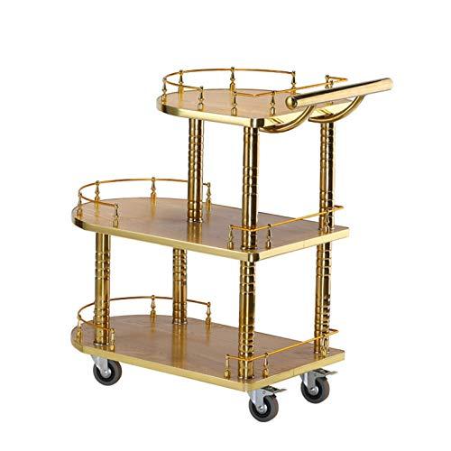 Servierwagen Gold Mobile Mini Bar   Beistelltisch Auf Rollen Küchenwagen   Teewagen Mit Milchglas 82.5x77x40cm Servierwagen mit Weinregal