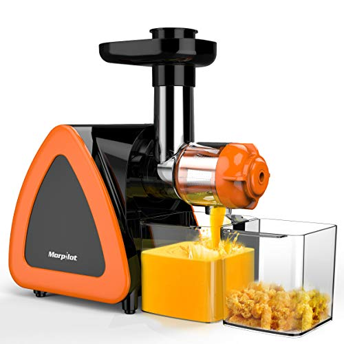 Entsafter, Morpilot Kauen Slow Juicer| Langsam Entsafter, BPA-frei, Ruhiger Motor und Umkehrfunktion, Ideal für Gemüse und Obst, mit Pinsel zu reinigen