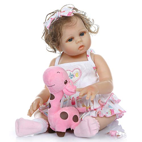 TERABITHIA 18inch 47cm Cute Soft Hand Rooted Curly Hair Silicone Vinyl Full Body Reborn Baby Dolls Look Real Preemie Collectible Newborn Doll Washable for Girl