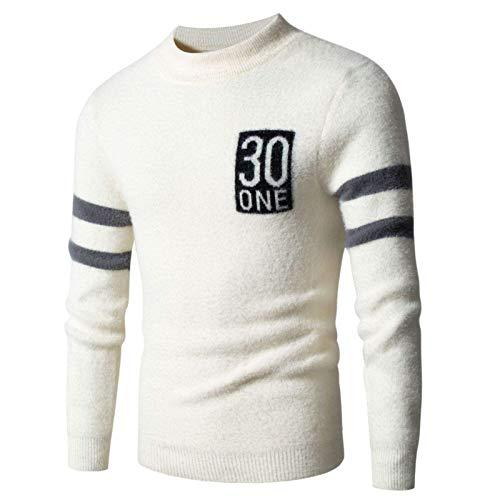 KTZAJO 2021 Pull à col roulé pour homme Style streetwear décontracté Tendance Jacquard - Blanc - M