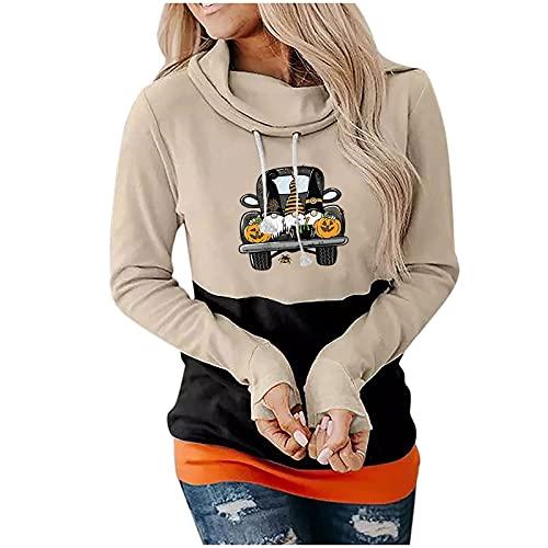 Sudadera con capucha de las mujeres impresión suelta casual manga larga Tops de Halloween Q90863, caqui, M