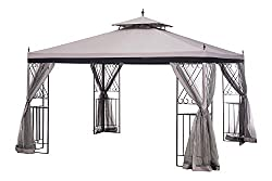 Sunjoy L-GZ288PST-4H 10 x 12 Monterey Gazebo with Netting, Gray with Black