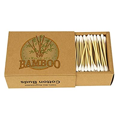 Bamboo Cotton Swabs Wooden Paper stem eco Friendly Earbuds Organic Buds
