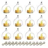 Nuptio Mini Colgante De Cristal Tealight Candle, Globos De Cristal con La Vela del LED, Diámetro De Los 6cm, Decoración del Árbol del Banquete De Boda (10 Piezas + 2 Piezas)
