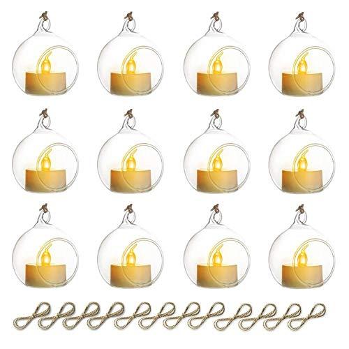 Sziqiqi 12 Piezas Candelabro Colgante De Vidrio, Colgante De Cristal con Vela LED, Decoración De Velas para Mesas De Boda Fiesta, Decoraciones De Navidad San Valentín, Claro