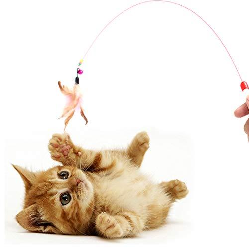 """Digiflex Bacchetta Elastica da 36"""" (91.44 cm) con campanella e Piuma per Giocare con Il Gatto."""