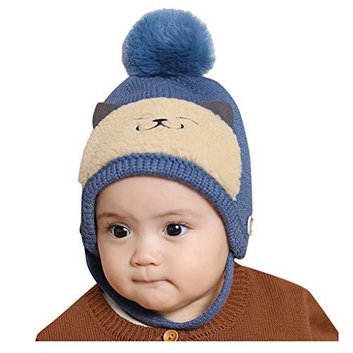 Ucoolcc Nette Baby Kids Hut Warm Strick Woolen Ball Cap mit Katzenmuster - Männlicher und weiblicher Babywollhut - Kappe Einfache Farbe