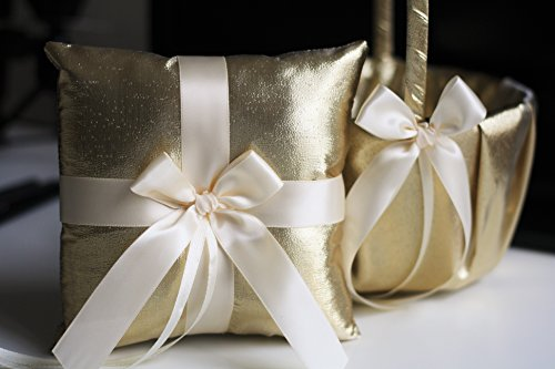 Alex Emotions Gold Flower Girl Basket and Ring Bearer Pillow Set | Gold Wedding Basket | Gold Ring Holder | Gold Wedding Ring Pillow Gold Collection |