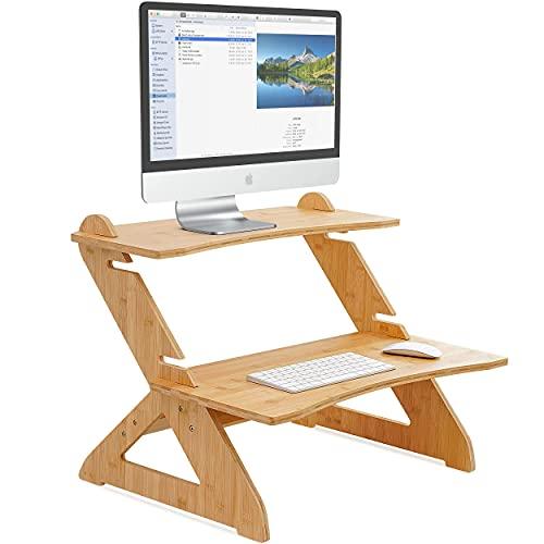 Robotime Escritorio de bambú de pie para computadora con altura ajustable, mesa de estudio de madera de 4 niveles, portátil, para monitor, TV, PC, portátil para oficina en casa