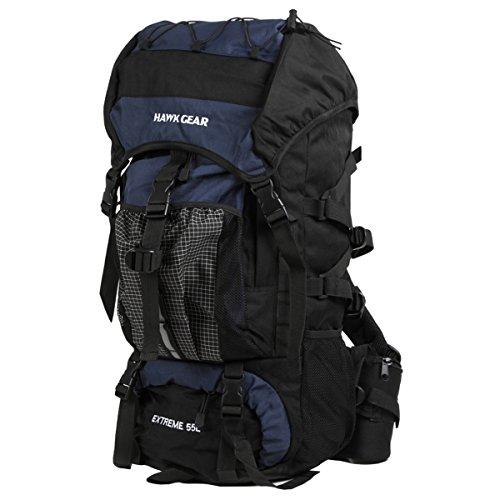 レインカバー付 防水 バックパック 55L ミドルサイズ バランス型ザック (コバルトブルー(濃青))