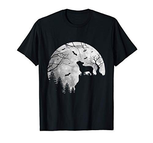 Frenchie Dog Moon Howl In Forest Halloween Dog Frenchie T-Shirt
