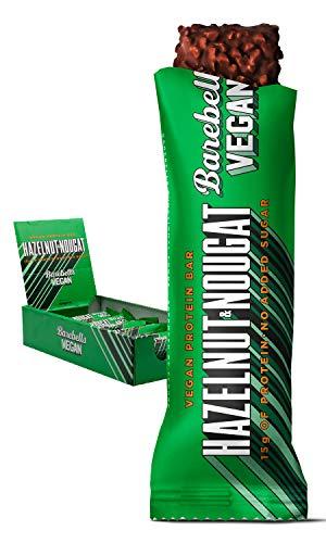 Barebells Proteinriegel – köstliche Eiweißriegel mit Schokolade – zuckerarm, 15 Gramm Protein, ohne Palmöl – Vegan Hazelnut & Nougat, 12 x 55gr