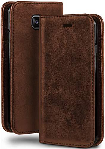moex Booklet in Lederoptik - Kartenfächer & Aufstellfunktion kompatibel mit Samsung Galaxy Xcover 4 | Eleganter 360 Grad Vollschutz, Sattel-Braun