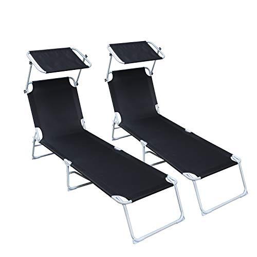 vingo Set de 2 Tumbona Plegable, Inoxidable,Parasol Ajustable, Capacidad 200 kg, 189x55x27 cm Negro
