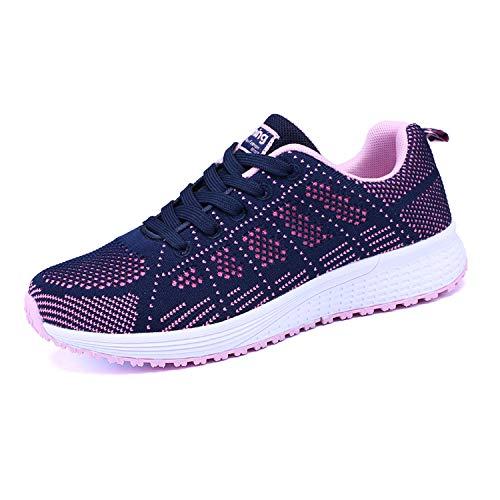 Mujer Entrenador Zapatos Gimnasio Deportes atléticos Zapatillas de Deporte Malla Informal Zapatos para Caminar Encaje Plano Azul EU 35