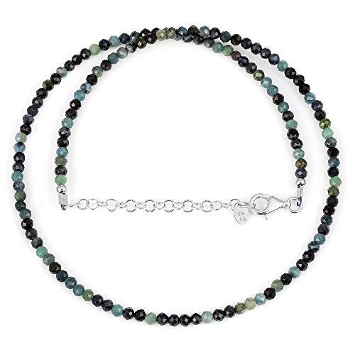 Turmalin Halskette - Multi Blue Turmalin Steine Mix Blau schattierte Halskette Runde facettierte Perle mit verstellbarer Silberkette - 50 cm. Geschenk für Halloween, Geburtstag, Neujahr