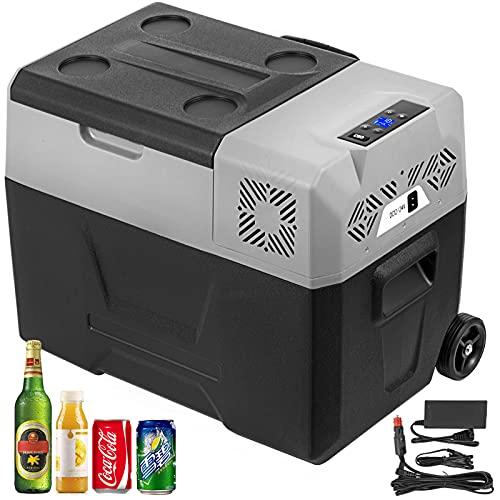 BuoQua 30L tragbarer Autokühlschrank Kompressorkühlbox Edelstahl Urlaub Isolierbox Mini Kühlschrank Kühlbox Auto und Steckdose