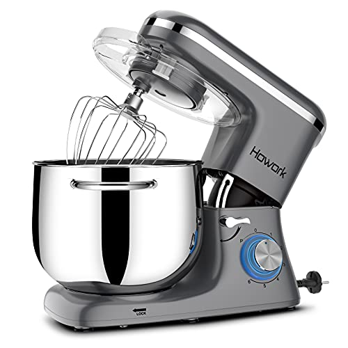 HOWORK Stand Mixer, 8.45 QT Bowl 660W Food Mixer, Multi Functional Kitchen Electric Mixer With Dough Hook, Whisk, Beater, Egg White Separator(8.45 QT, Grey)