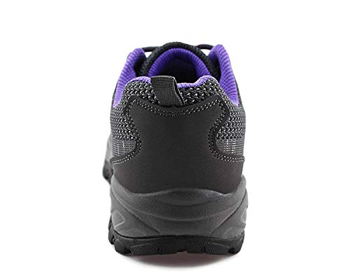 JABASIC Women Hiking Shoes Breathable Mesh Athletic Outdoor Sneakers (Grey/Purple,8)