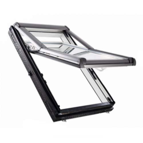 ROTO Designo R7 WD Hoch-Schwingfenster (3-fach Verglasung Uw: 1,1 W/m²K) aus Kunststoff + WD inkl. Eindeckrahmen (Eindeckrahmen: Rx WD 1x1 ZIE - für Ziegel oder Pfanne < 5 cm, 74 x 98 (7/9))