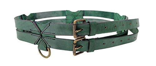 Epic Armoury LARP Doppelgürtel aus Leder Mittelalter Gewandung Ledergürtel doppelt mit Ringen (Grün)