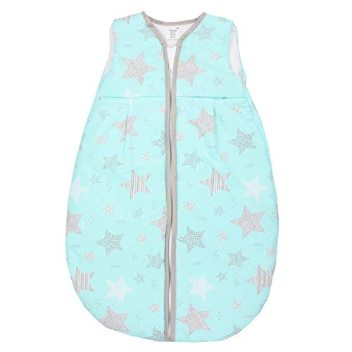 TupTam Baby Ganzjahres Schlafsack ohne Ärmel Wattiert, Farbe: Sterne Schwarz/Mint, Größe: 62-74
