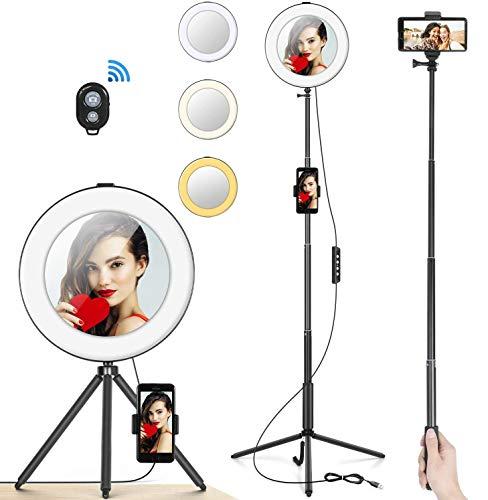 """Anillo de Luz 8"""" MACTREM Aro de Luz LED Regulable para Selfie Fotografía Ring Light con Trípode Soporte para Movíl, Palo Selfie y Espejo para Youtube, Maquillaje, Teléfono, Vídeo, Foto - Negro"""