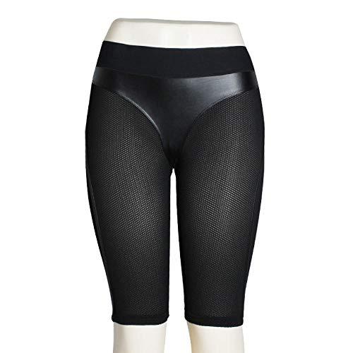 Yogabroek extra zachte legging met zakken voor dames,Zwart leren yogabroek, hardloop fitness legging met hoge taille-Short_L,Blouse met V-hals